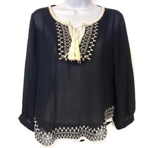 Monteau Navy Sheer Boho Tassel Blouse Small